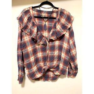 Beautiful ruffle button down blouse